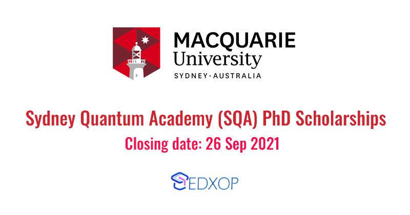 Macquarie University Sydney Quantum Academy (SQA) PhD Scholarships